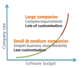 The distinct worlds of large and small/medium companies from the SaaS perspective