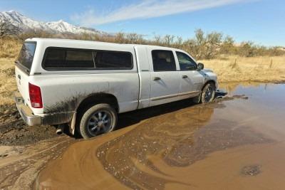 Car stuck in a mud