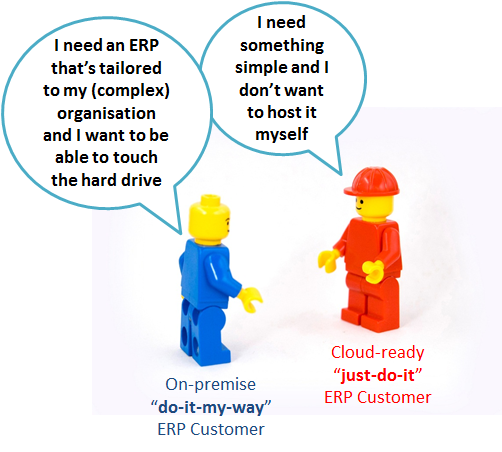 "2 LEGO men talking, one of them is an on-premise ""do-it-my-way"" ERP Customer, who needs an ERP system that's tailored to his (complex) organisation and he wants to be able to touch the hard drive. The other LEGO man - ""just-do-it"" ERP Customer, who needs something simple instead and he doesn't want to host it himself."